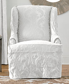 Sure Fit Matelasse Damask Wing Chair Slipcover