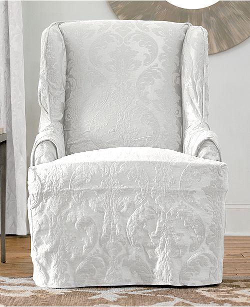 Sensational Sure Fit Matelasse Damask Wing Chair Slipcover Reviews Machost Co Dining Chair Design Ideas Machostcouk