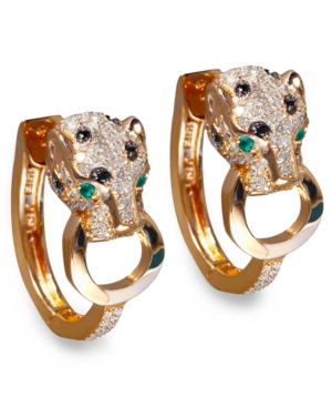 Effy Signature Black and White Diamond (3/4 ct. t.w.) and Emerald Accent Panther Hoop Earrings in 14k Rose Gold