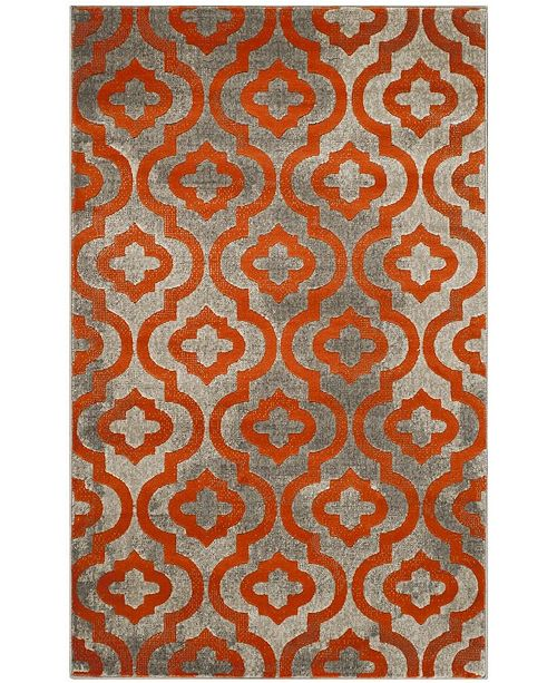 Safavieh Porcello Light Gray and Orange 3' x 5' Area Rug