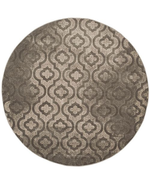"Safavieh Porcello Gray and Dark Gray 6'7"" x 6'7"" Round Area Rug"