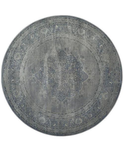 Safavieh Vintage Light Blue and Light Gray 6' x 6' Round Area Rug
