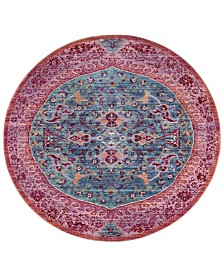 Safavieh Sutton Turquoise and Fuchsia 6' x 6' Round Area Rug