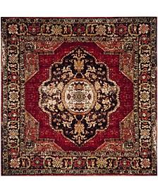 "Vintage Hamadan Red and Multi 5'3"" x 5'3"" Square Area Rug"