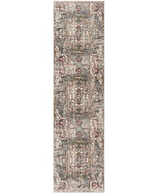 """Vintage Persian Charcoal and Olive 2'2"""" x 12' Runner Area Rug"""