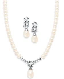14k White Gold Jewelry Set, Cultured Freshwater Pearl and Diamond Necklace and Earrings