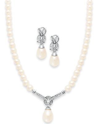 14k White Gold Jewelry Set Cultured Freshwater Pearl and Diamond