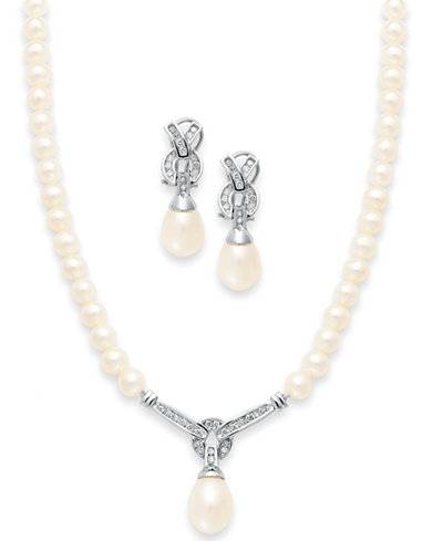 14k white gold jewelry set cultured freshwater pearl and diamond 14k white gold jewelry set cultured freshwater pearl and diamond necklace and earrings aloadofball Image collections