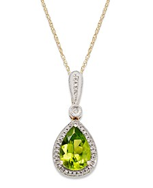 Peridot (1-3/4 ct. t.w.) and Diamond Accent Pear-Cut Pendant Necklace in 14k Gold