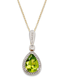 14k Gold Necklace, Peridot (1-3/4 ct. t.w.) and Diamond Accent Pear-Cut Pendant