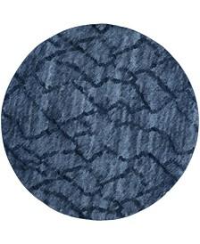 Retro Blue and Dark Blue 8' x 8' Round Area Rug