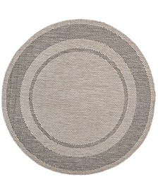 "Courtyard Beige and Black 6'7"" x 6'7"" Round Area Rug"