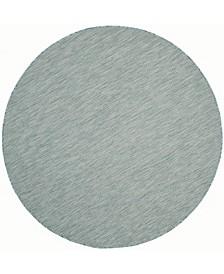"Courtyard Aqua and Gray 6'7"" x 6'7"" Sisal Weave Round Area Rug"