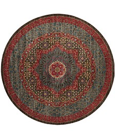"""Mahal Navy and Red 6'7"""" x 6'7"""" Round Area Rug"""