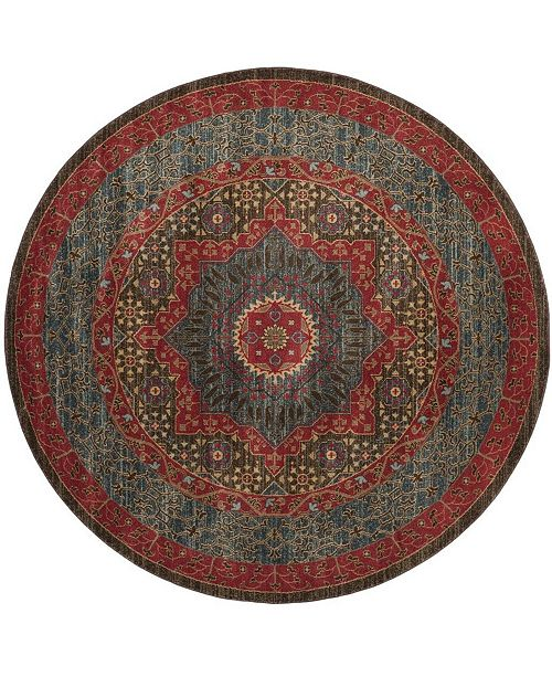 """Safavieh Mahal Navy and Red 6'7"""" x 6'7"""" Round Area Rug"""