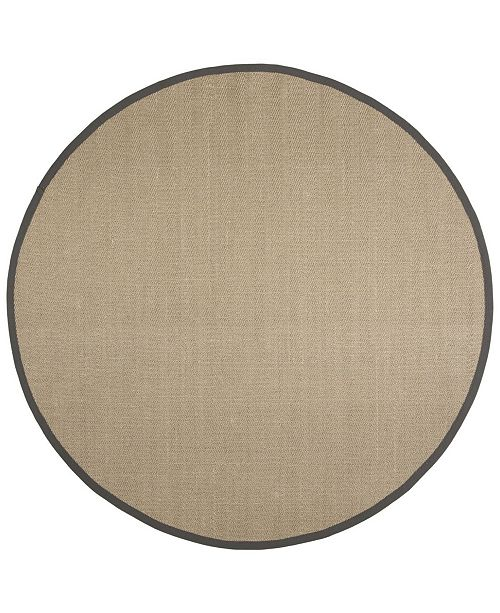 Safavieh Natural Fiber Natural and Gray 6' x 6' Sisal Weave Round Area Rug