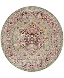 """Claremont Grape and Blue 6'7"""" x 6'7"""" Round Area Rug"""