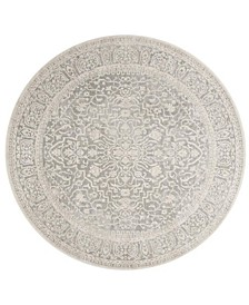 Reflection Light Gray and Cream 5' x 5' Round Area Rug