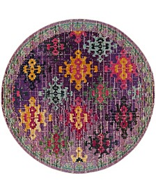 "Monaco Purple and Multi 6'7"" x 6'7"" Round Area Rug"