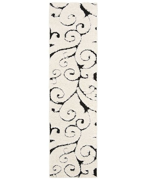 "Safavieh Shag Ivory and Black 2'3"" x 8' Runner Area Rug"