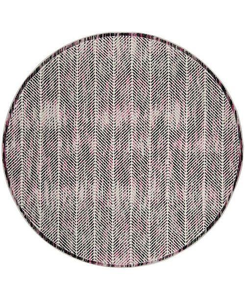 """Safavieh Skyler Gray and Pink 6'7"""" x 6'7"""" Round Area Rug"""