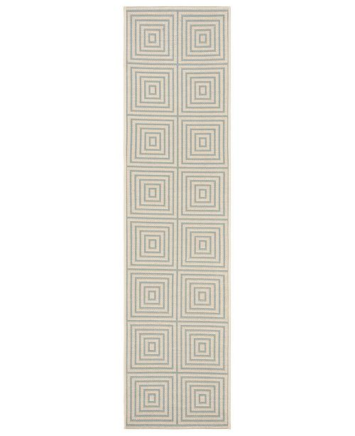 Safavieh Linden Cream and Aqua 2' x 8' Runner Area Rug