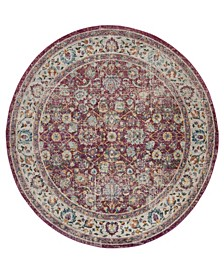 """Merlot Red and Multi 6'7"""" x 6'7"""" Round Area Rug"""