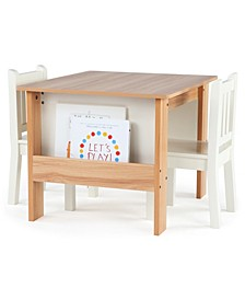 Kids Book Rack Storage Table and 2 Chairs
