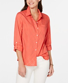 Tommy Hilfiger Diamond-Burnout Utility Shirt