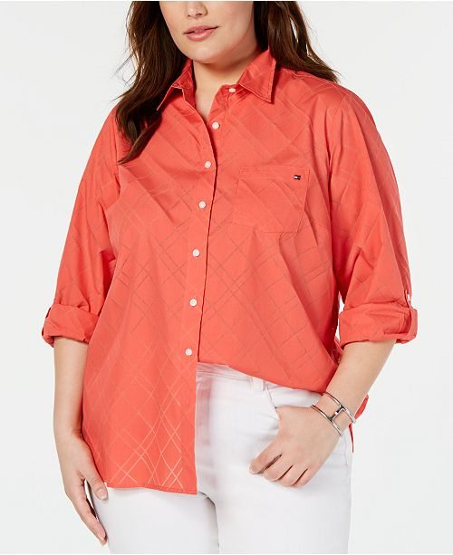 Tommy Hilfiger Plus Size Button-Front Roll-Tab-Sleeve Top, Created for Macy's