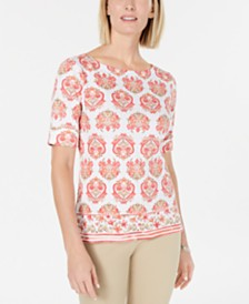 Karen Scott Petite Printed Boat-Neck Top, Created for Macy's