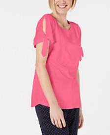 Karen Scott Tie-Sleeve Top, Created for Macy's