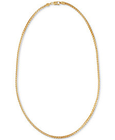 """Esquire Men's Jewelry Double Box Link 22"""" Chain Necklace in 14k Gold-Plated Sterling Silver, Created for Macy's"""