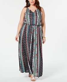 Style & Co Plus Size Printed Elastic-Waist Dress, Created for Macy's