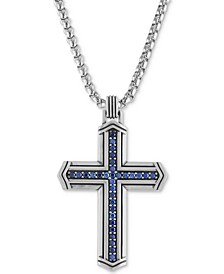 "Sapphire Cross 22"" Pendant Necklace (5/8 ct. t.w.) in Sterling Silver, Created for Macy's"