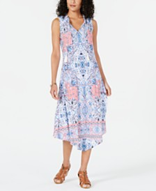 Style & Co Printed Split Ruffled Sleeveless Asymmetrical Midi Dress, Created for Macy's