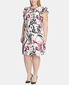 Tommy Hilfiger Plus Size Flutter-Sleeve Floral Scuba Dress