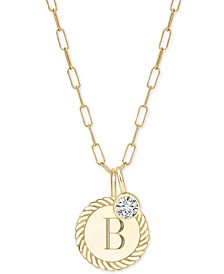 "Alara Initial Charm Long Pendant Necklace in 14k Gold-Plate Over Sterling Silver, 36"" + 2"" extender"