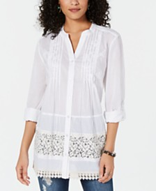 Style & Co Cotton Pleated Crochet-Trim Top, Created for Macy's