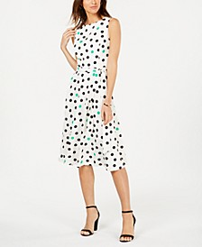 Dot-Print Fit & Flare Dress