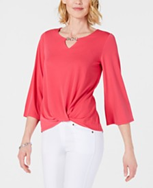 JM Collection Petite Keyhole Knot-Front Top, Created for Macy's