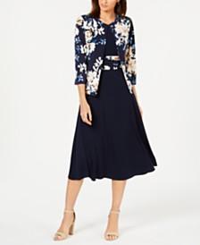Jessica Howard Fit & Flare Dress & Printed Jacket