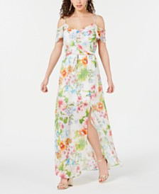 City Studios Juniors' Floral Off-The-Shoulder Maxi Dress