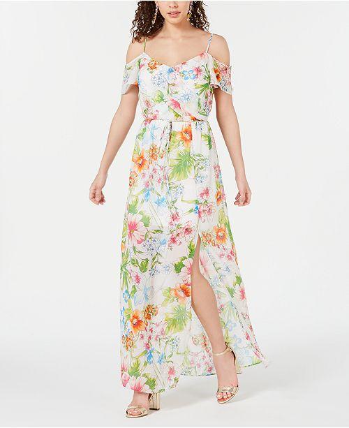 City Studios Juniors' Floral Off-The-Shoulder Maxi Dress