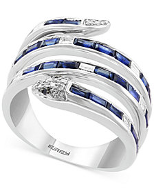 EFFY® Sapphire (1-1/2 ct. t.w.) & Diamond (1/4 ct. t.w.) Snake Statement Ring in 14k White Gold