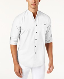 I.N.C. Men's Band-Collar Utility Shirt, Created for Macy's