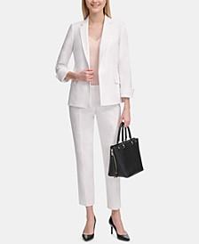Petite Open-Front Blazer, V-Neck Camisole Top & Slim Pants