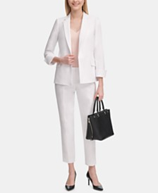 Calvin Klein Open-Front Blazer, V-Neck Camisole & Cotton Pants