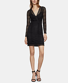BCBGMAXAZRIA Lace Faux-Wrap Bodycon Dress