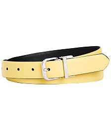 Calvin Klein Reversible Feather Edge Leather Skinny Belt